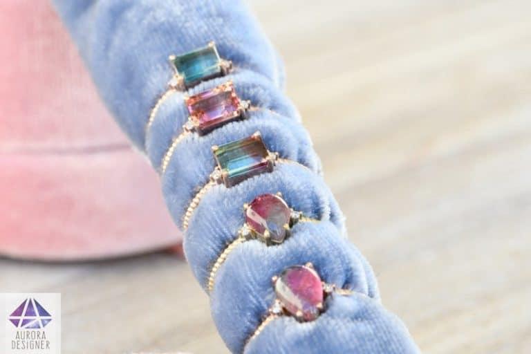 8th anniversary gemstone gift: bi-color tourmaline ring