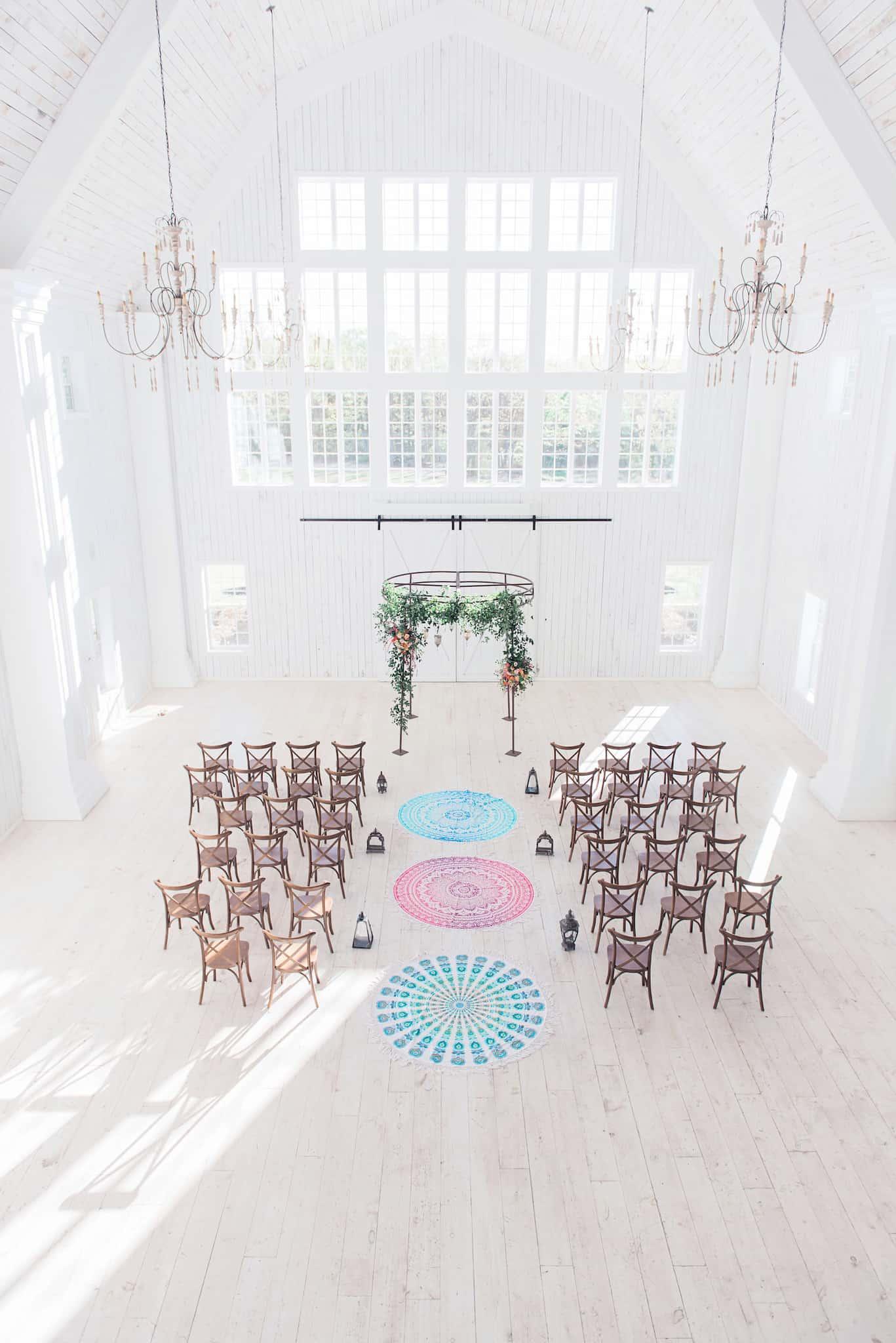 minimalist and bohemian wedding ceremony decorations