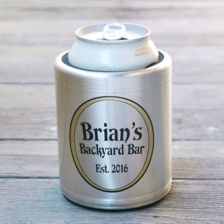 bbq gift ideas: custom beer can cooler