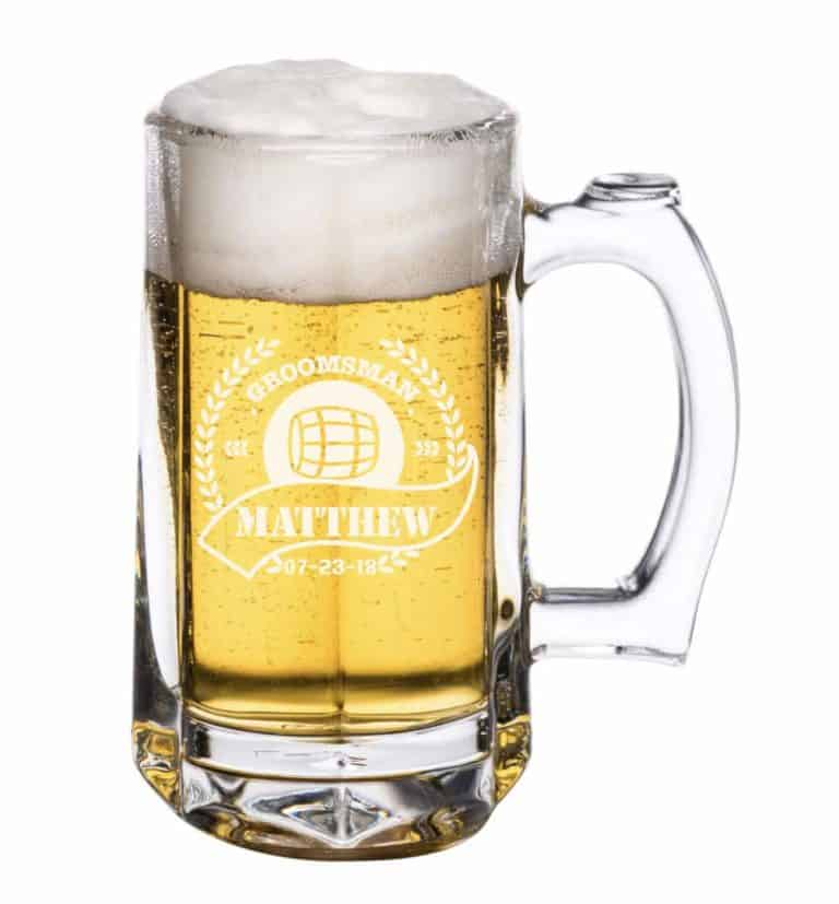 gifts for beer lovers: personalized beer glass