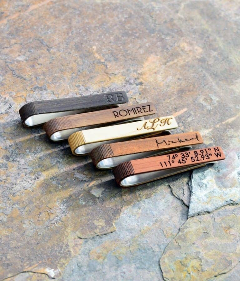 best fathers day gift for him: custom wood tie clip