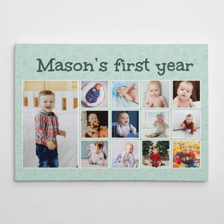 fathers day gifts - first year 12 month photo collage canvas