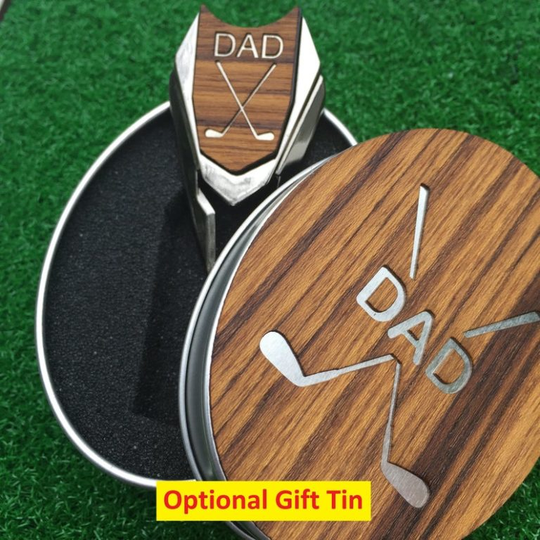 useful gifts for dad - teak wood personalized golf ball marker