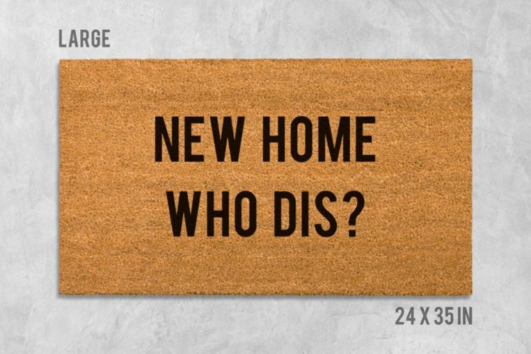 funny housewarming gifts for men: funny door mat 'new home who dis?'