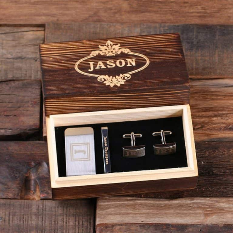 personalized gentleman's gift set with cufflinks, money clip, tie clip