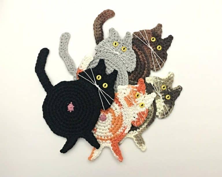black cat stuff - butt coaster kitty bum drink