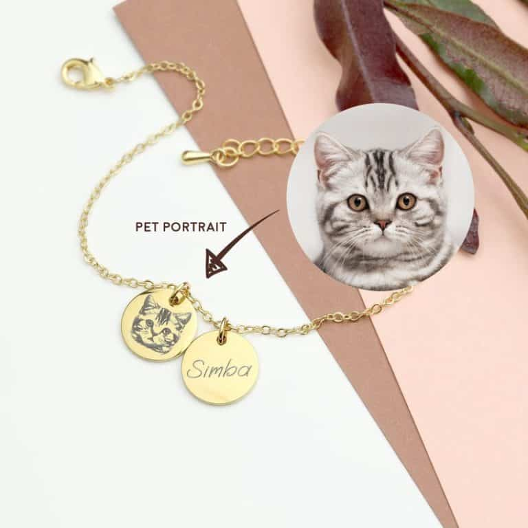 gifts for cat lovers - custom pet portrait bracelet