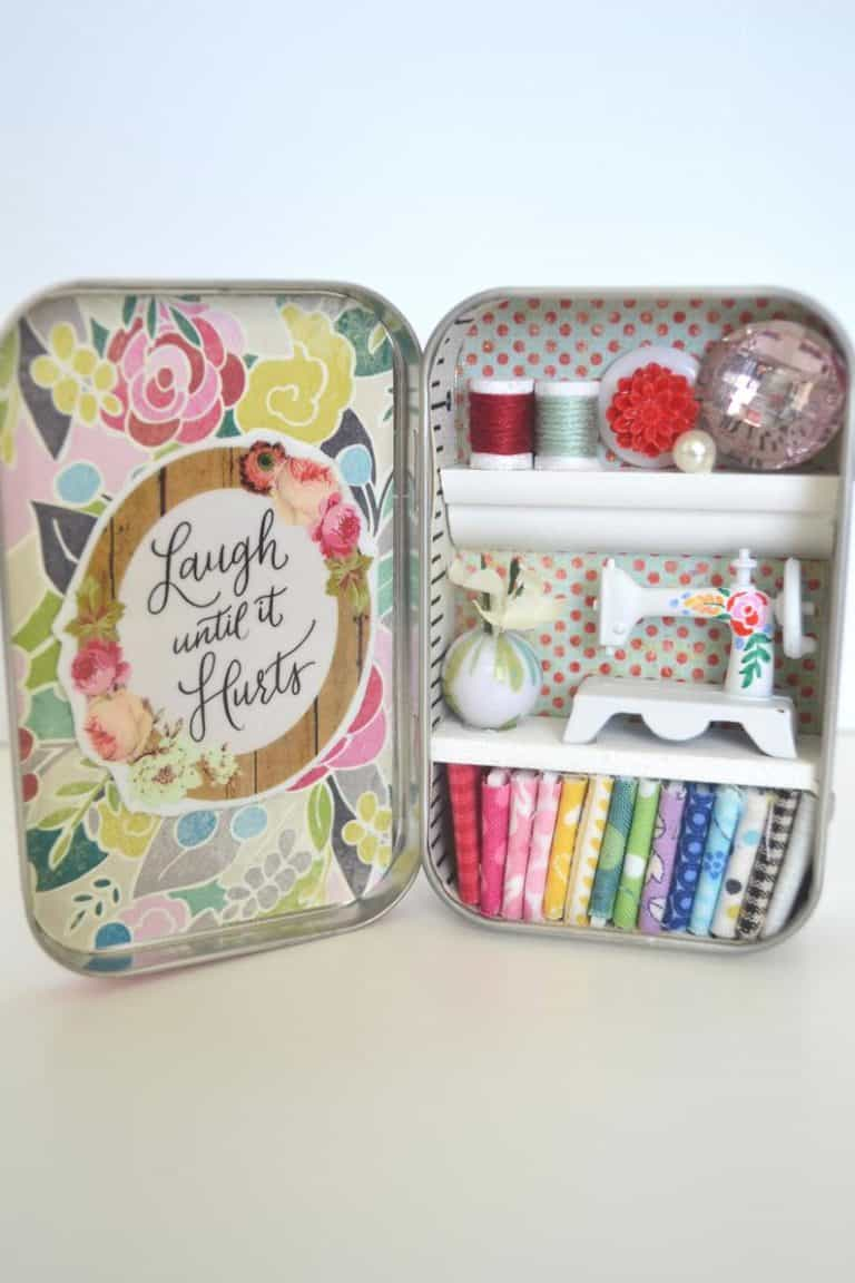 quilter's gift basket - tiny tin sewing room
