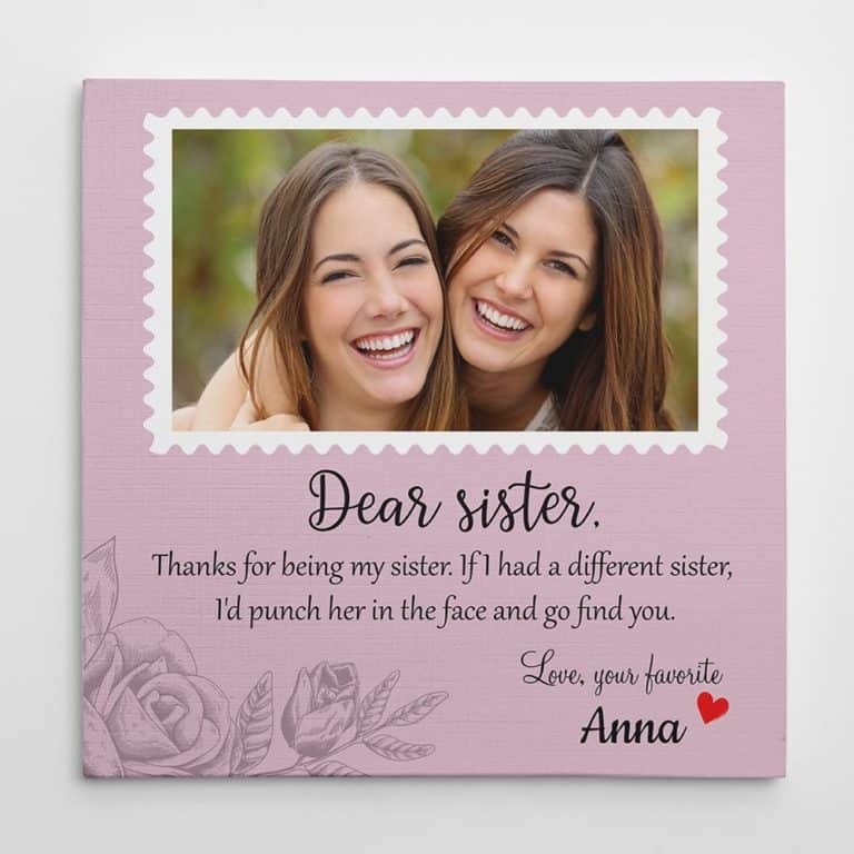 gifts for sister - sister custom photo canvas print