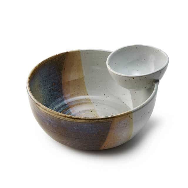 good housewarming gifts: handmade chip and dip serving bowl