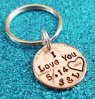 traditional 7th anniversary gift for husband: hand stamped penny keychain