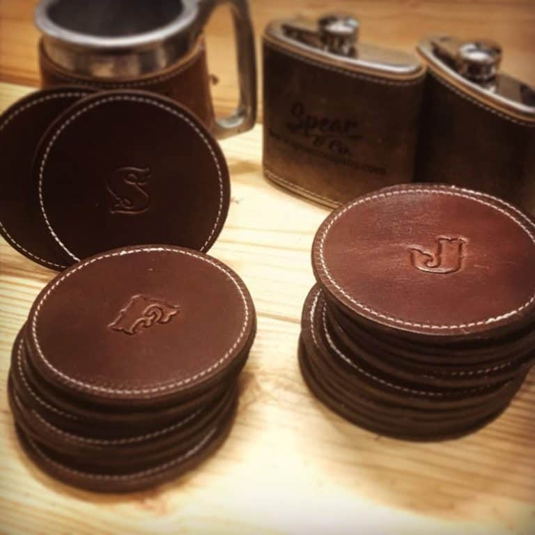 housewarming gifts for men: Personalized leather coasters