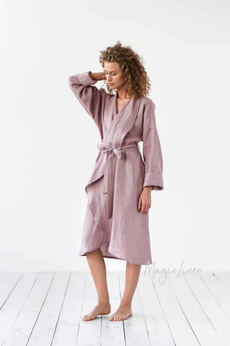 linen gift for her: linen bath robe