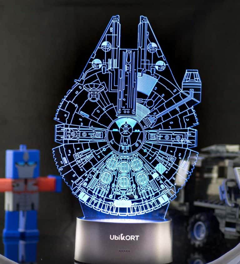 star wars gift idea: millennium falcon 3d night light