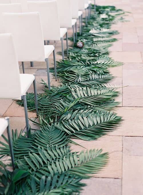 palm leaves wedding aisle markers