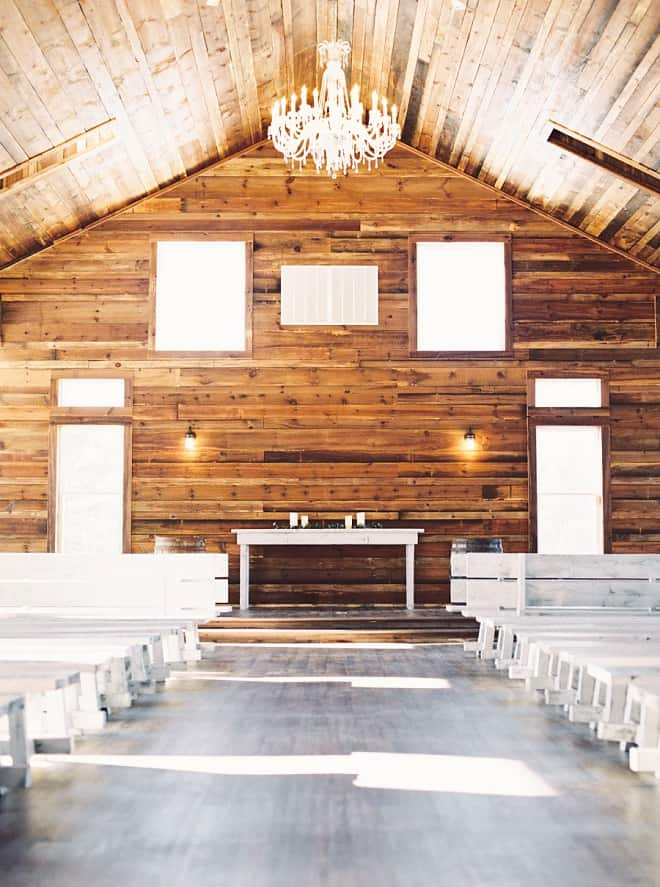 modern yet rustic ceremony in a wood building