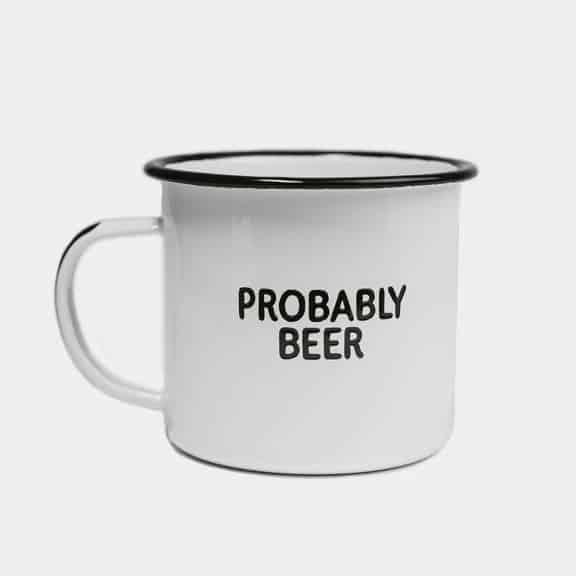 cool gifts for dad: probably beer enamel mug
