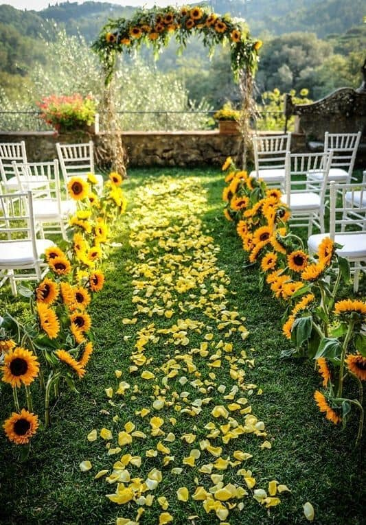 outdoor wedding aisle decorations with sunflowers and petals