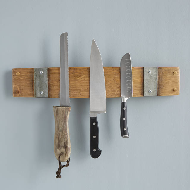 housewarming gifts for men: reclaimed wine barrel magnetic knife rack