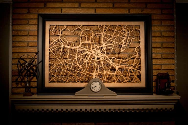 gift for new homeowner man: wooden city map cutout
