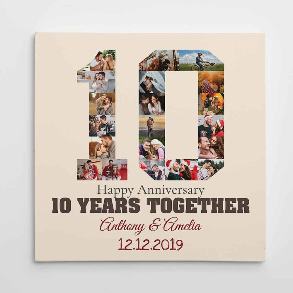 10 years together photo collage canvas print