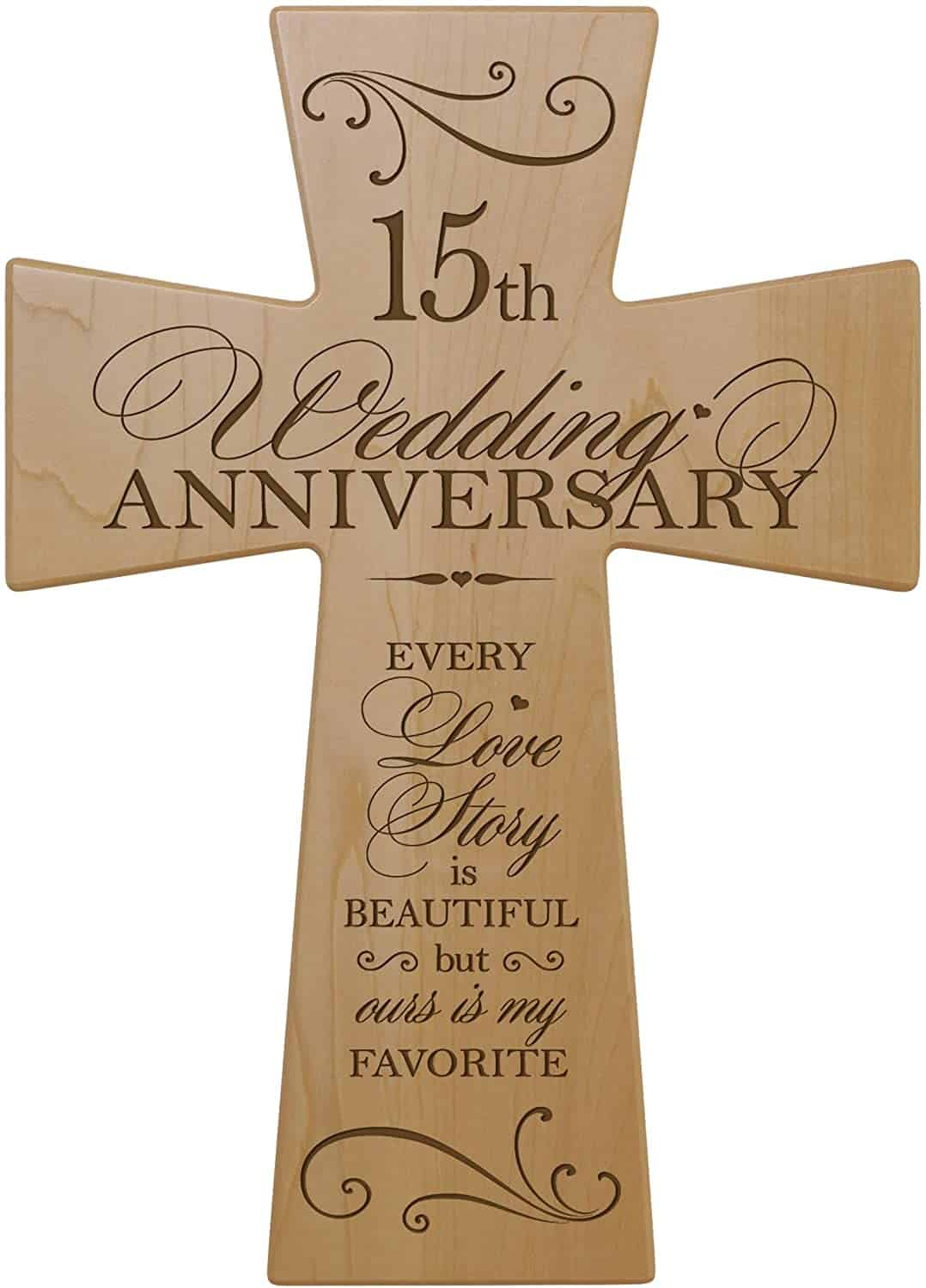 15 year anniversary gift for wife:15th Wedding Anniversary Maple Wood Wall Cross Gift