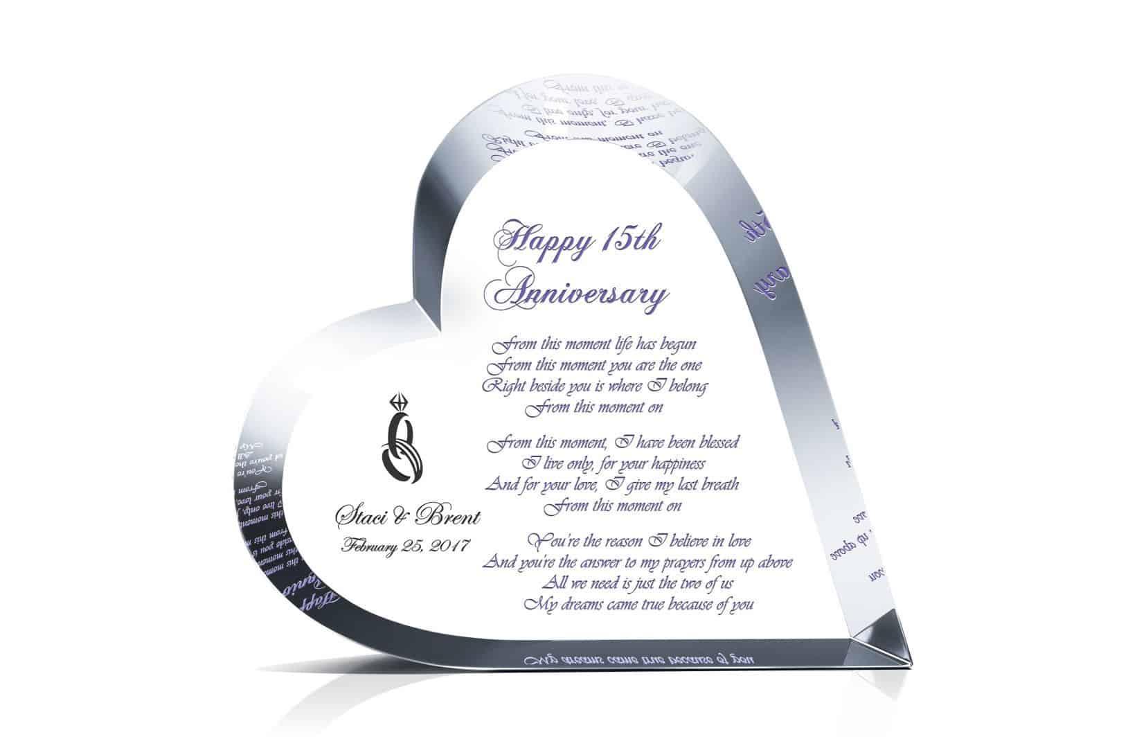 Crystal Heart 15 Anniversary Gift