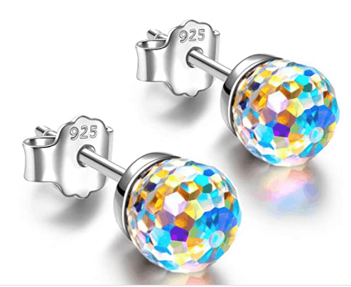 15th year anniversary present:Crystal Sterling Silver Earrings for Women Anniversary Gift