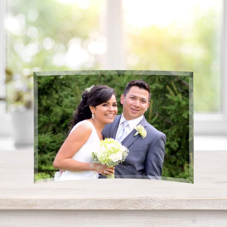 crystal anniversary gifts for her:Curved Glass Photo Print,