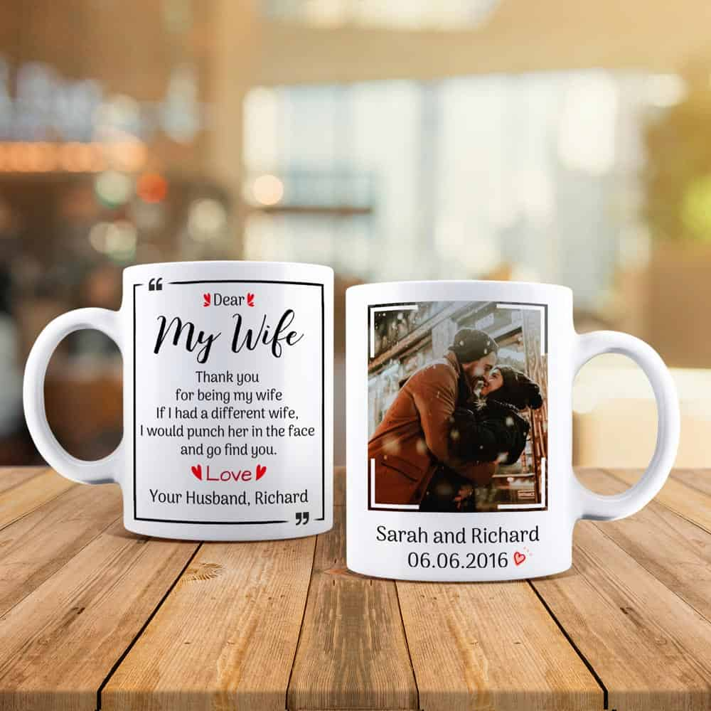 15th anniversary gift for her:Custom Photo Mug For Wife