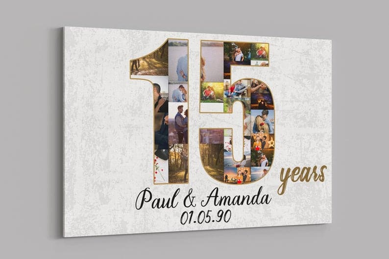 15th anniversary gift:Personalized Collage Canvas Print
