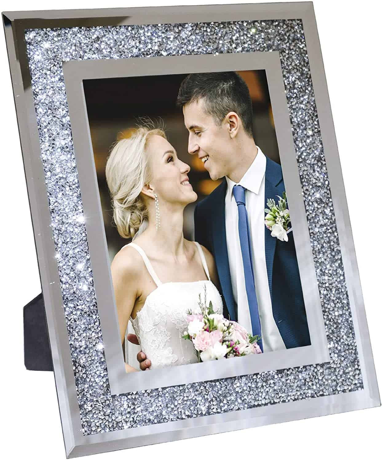 15 year anniversary gift for him:Photo Holder Glass Mirror with Sparkling Crystal Boarder