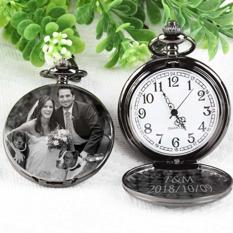 15 year anniversary gift for husband:Pocket Watch Engraved photo Anniversary