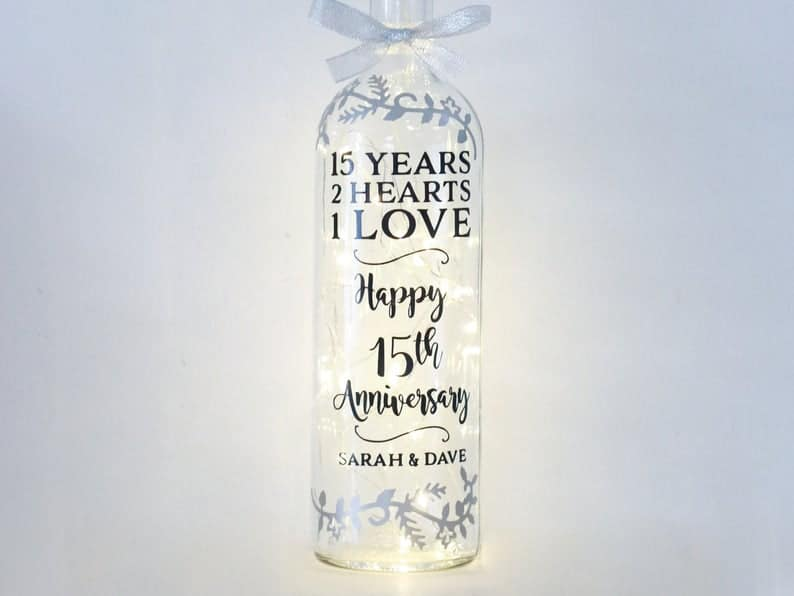 15th anniversary gifts for her:Unique Bottle Light For Wife