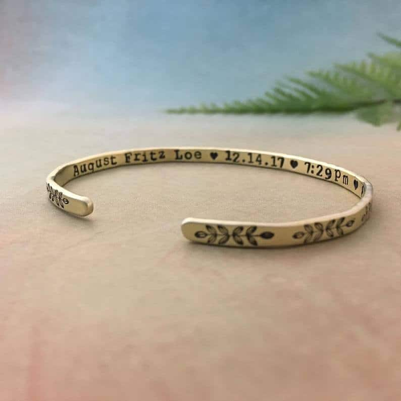 mothers day gifts for new moms: baby stats bracelet
