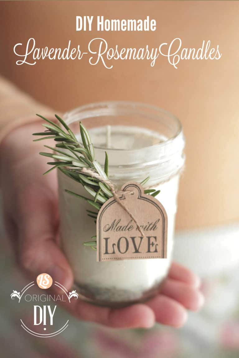 gift idea for aunts: diy homemade lavender & rosemary candles