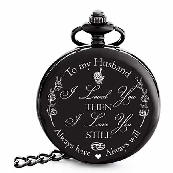 ten year anniversary gift: engraved pocket watch
