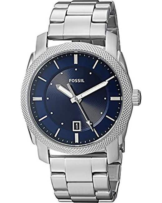 10 year anniversary gift for him: Fossil men's machine stainless steel watch in silver and blue