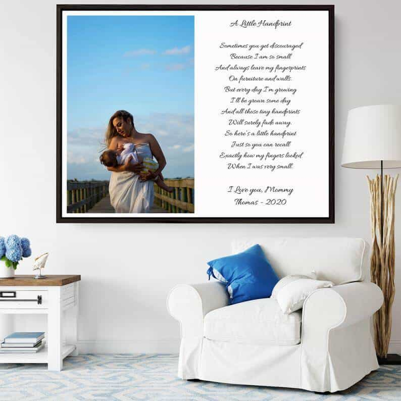 first time mothers day gifts: framed canvas print with poem