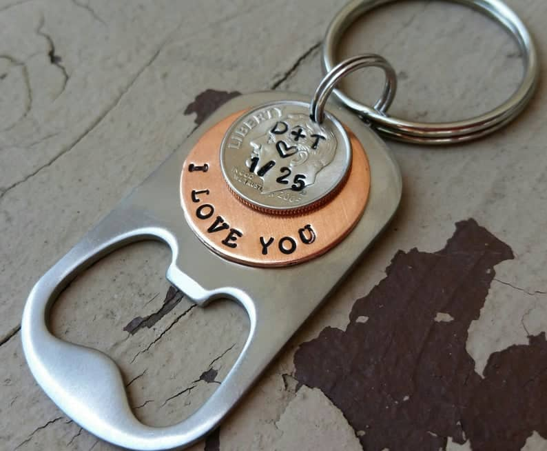 10th anniversary gift for husband: Personalized key chain with dime