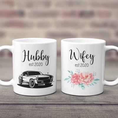 hubby and wifey custom est coffee mugs