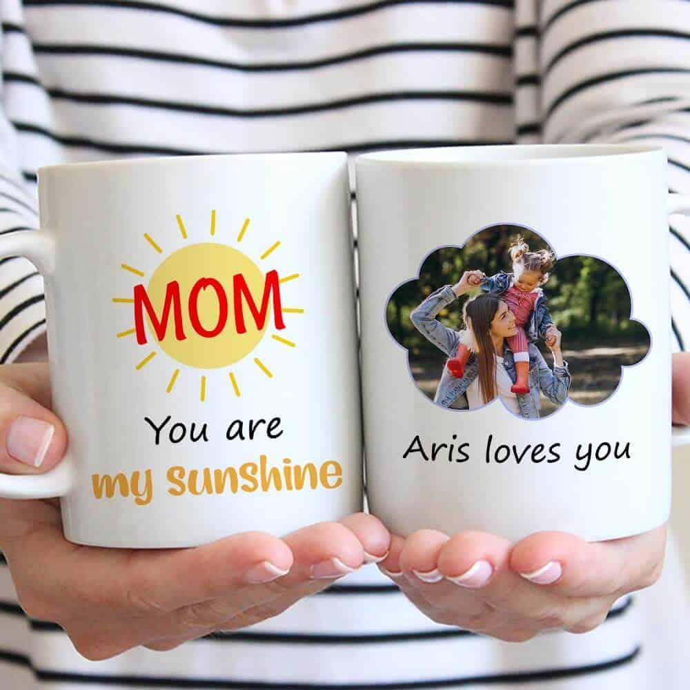 gift ideas for mom from baby: custom photo mug