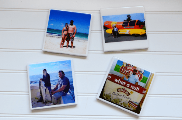 diy gifts for 10th anniversary: photo coasters