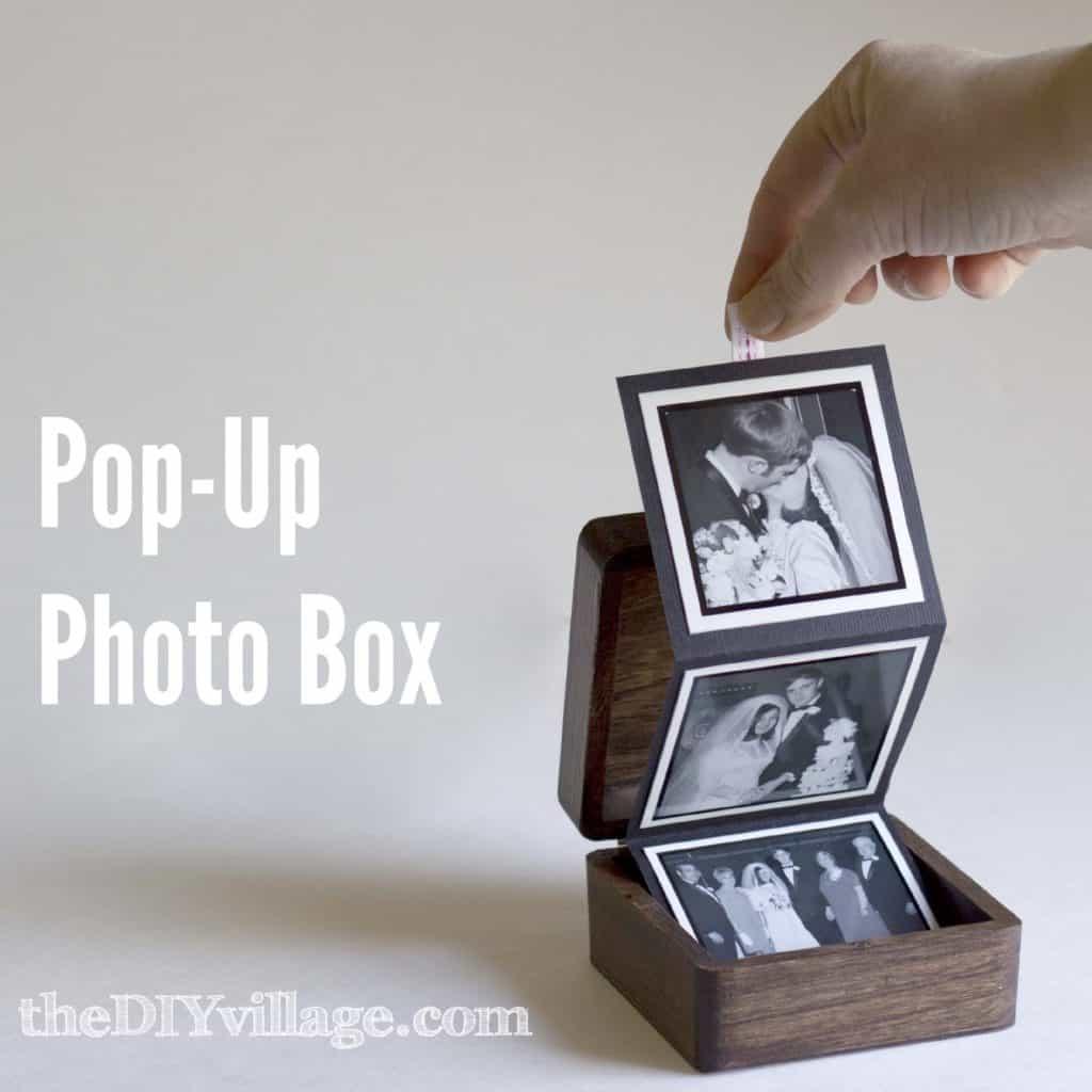 handmade gift idea for 10 year anniversary: pop-up photo box