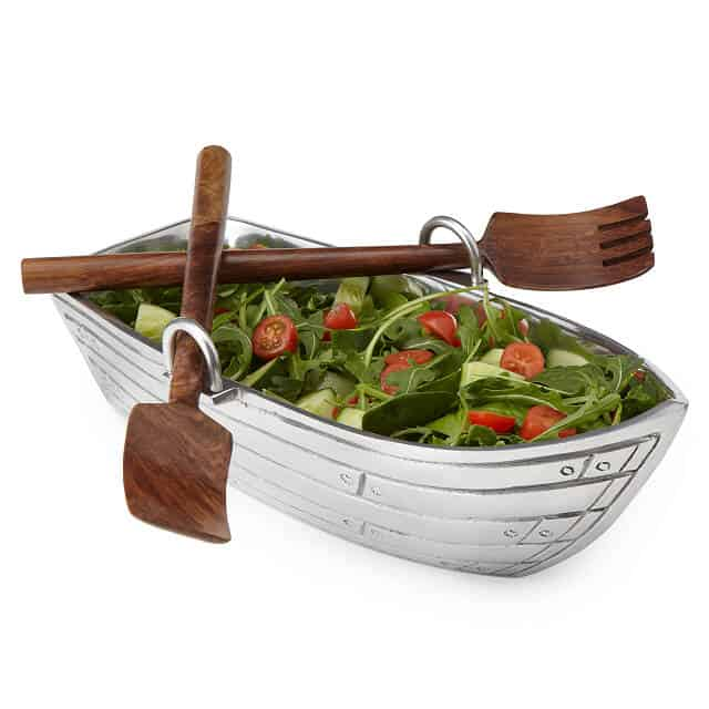 aluminum anniversary gifts for couples: Row Boat Serving Bowl with Wood Serving Utensils