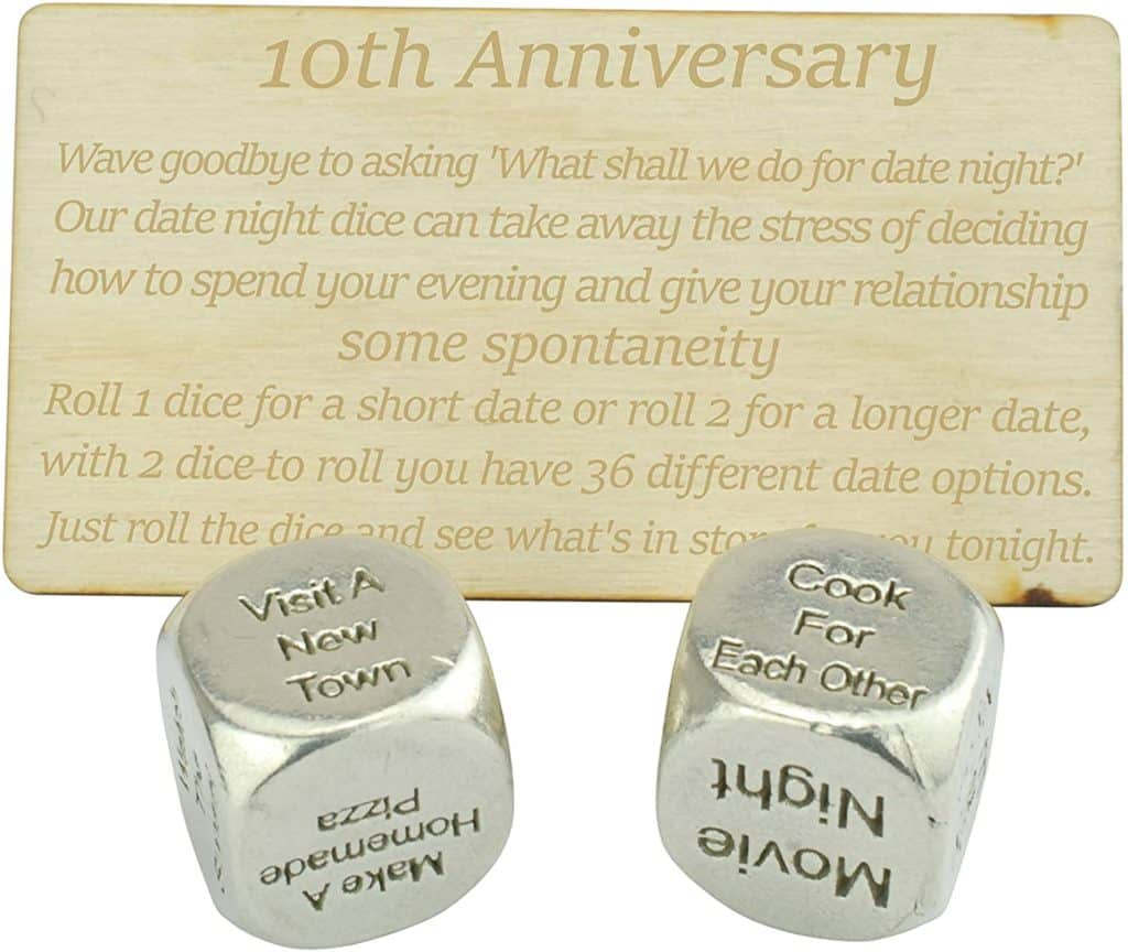 tin gifts for couples: tin date night dice