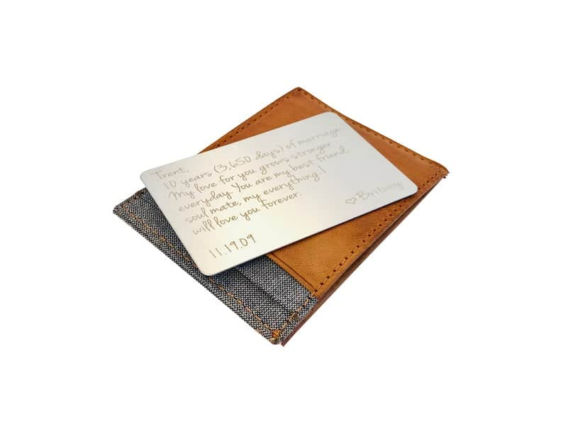 10 year anniversary gift for him: tin wallet card insert