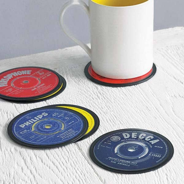 fathers day ideas: Vinyl Record Coasters
