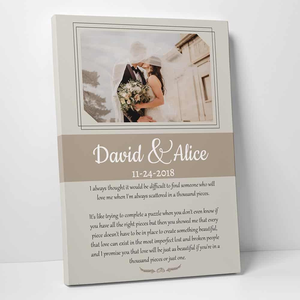 10 year anniversary gift idea: wedding vows custom photo canvas