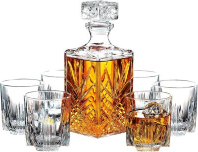 Italian Crafted Glass Decanter & Whisky Glasses Set
